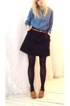 black skirt - blue jules power shirt - brown Nine West shoes