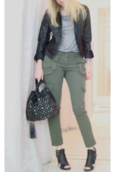 green imperial pants - black Nine West shoes - black Lush jacket - gray shirt -