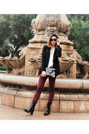 black patent leather Zara boots - black Zara blazer