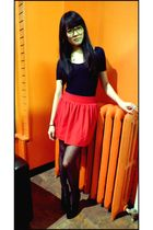 black Urban Outfitters tights - red Forever 21 skirt - black American Apparel to