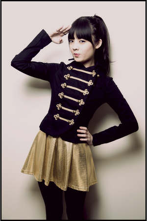 black H&M jacket - gold American Apparel skirt
