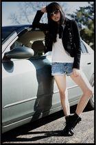 black H&M jacket - blue Forever 21 shorts - black Aldo shoes