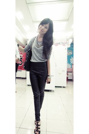gray Zara top - black Topshop pants - black Jimmy Choo bag - black Steve Madden