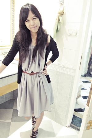 gray dress - black cardigan - brown belt - black Aldo shoes