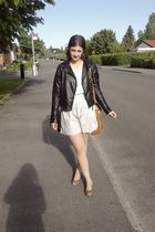 white Cubus shirt - black Cubus jacket - silver Pimkie skirt - brown Din Sko sho