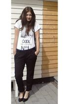 black vintage pants - black Eurosko shoes - white GINA TRICOT shirt - blue vinta