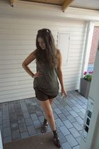 green H&M shirt - brown H&M shorts - brown ROOTS shoes