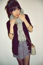 Blue-camden-market-dress-gray-american-eagle-scarf-black-pac-sun-cardigan-
