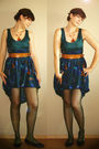 Green-handmade-dress-green-stockings-blue-shoes-brown-accessories