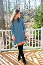 franco sarto boots - turquoise blue H&M dress - Vince Camuto bag