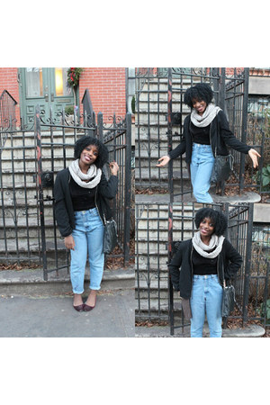 kint vintage scarf - mom jeans vintage jeans - american apperal bodysuit
