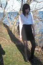 black H&M skirt - black Urban Outfitters shoes - white w frill detail H&M blouse