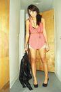 Pink-top-black-shoes-brown-belt-black-bra-black-necklace-gray-skirt