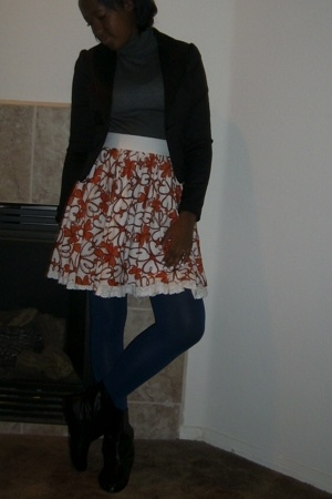 f21 blazer - f21 shirt - f21 skirt - f21 tights - shoes