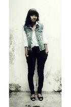 black pants - blue vest - white blouse