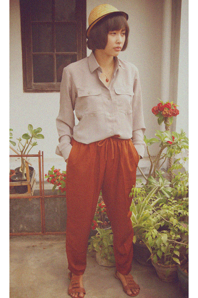 DIY pants - cotton Patagoonia top - fringed sandals