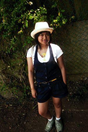 silver Kangol shoes - white Henri Lloyd shirt - gold belt - beige hat - blue sho