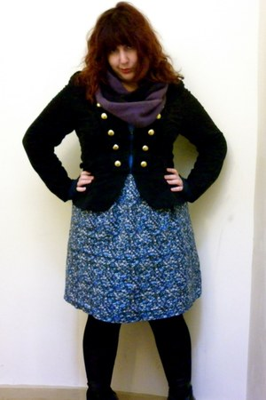 purple free people scarf - black INC jacket - blue Old Navy dress - black Target