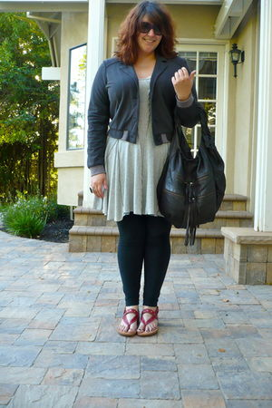 gray Anthropologie blazer - gray Anthropologie top - black American Apparel legg