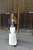 aztek shirt SANDRO shirt - leather jacket H&M jacket - maxiskirt Zara skirt