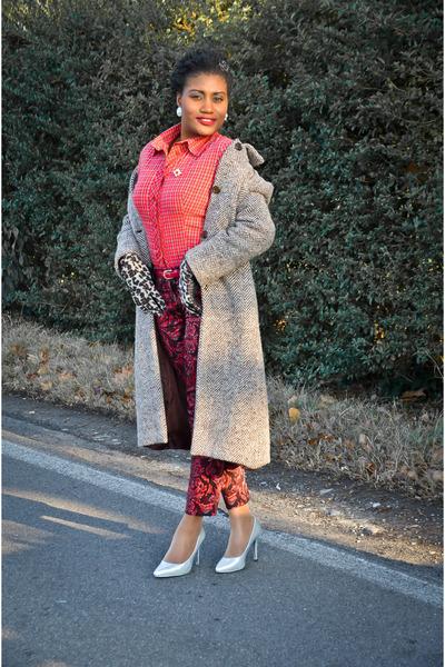 H&M heels - Conbipel shirt - colors&beauty gloves - H&M pants