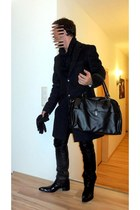 black manbag leather bag - black boots - dark gray short coat coat
