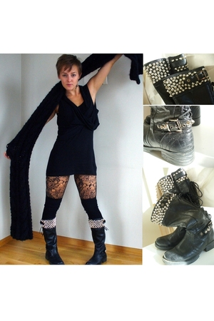 boots - scarf - H&M top - H&M stockings - H&M tights