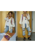 Zara jacket - Noa noa vest - abercrombie and fitch top - River Island jeans - Di