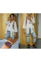 Zara jacket - Noa noa vest - abercrombie and fitch top - River Island jeans - Di