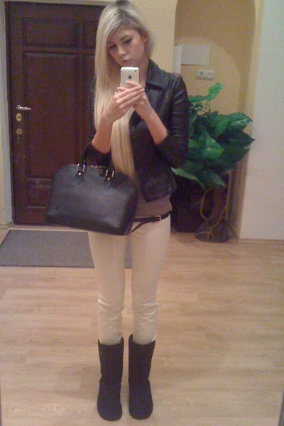 white pants are mine pants - beige H&M sweater - black Dolce & Gabbana jacket -