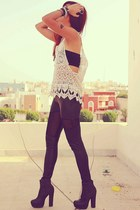 eggshell crochet Local store top - black OASAP leggings - black DCER accessories