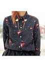 Black-red-lips-print-sheinside-blouse-brown-round-romwecom-glasses