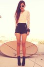 Black-forever-21-boots-black-h-m-shorts-cream-lace-vintage-top