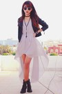 Heather-gray-chiffon-sheinside-dress-black-leather-sheinside-jacket
