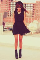 black spikes OASAP necklace - black chiffon H&M dress - black Topshop hat