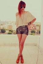 dark brown romwe shorts - nude becca striped ClubCouture sweater