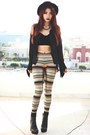 Black-romwecom-hat-gold-nairobi-blackmilkclothing-leggings