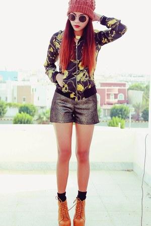black romwe jacket - dark brown romwe shorts