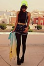 navy high waist Sheinsidecom shorts - black creepers choiescom shoes
