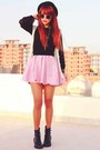 Black-bowler-topshop-hat-bubble-gum-clubcouture-dress-black-mesh-vintage-top