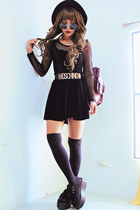 black creepers choiescom shoes - black velvet skater Blackmilkclothingcom dress