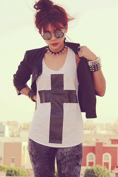 black punk spike OASAP necklace - black round romwe glasses