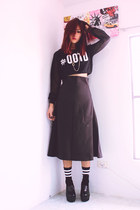 black chunky heels MartofChinacom shoes - black ootd print Romwecom sweater