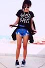 Navy-velvet-sammydresscom-blazer-blue-riveted-denim-sheinsidecom-shorts