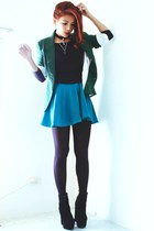 green wholesale7net skirt - black Oasapcom boots - green Sheinsidecom blazer