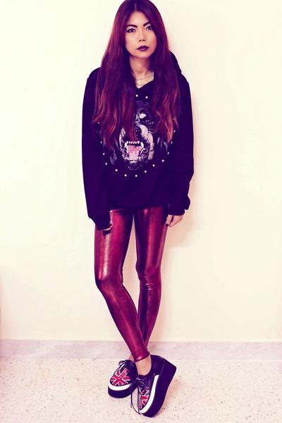 brick red oil slicks Blackmilkclothingcom leggings
