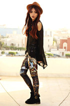black rouge blackmilkclothing top - black ankle yeswalker boots