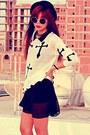 Black-spikes-oasap-necklace-cream-cross-inlovewithfashion-jumper