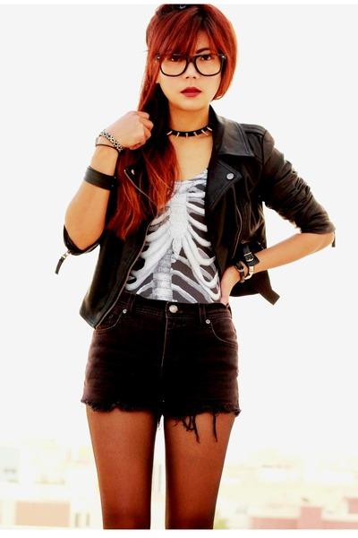 black leather Sheinside jacket - black spikes OASAP necklace