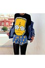 Blue-studded-denim-choiescom-jacket-blue-simpson-print-choiescom-shorts